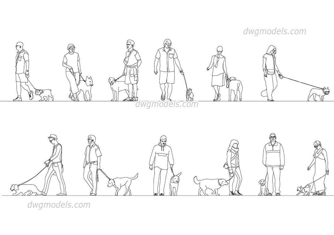 People With Dogs, Pets, CAD blocks, AutoCAD file download