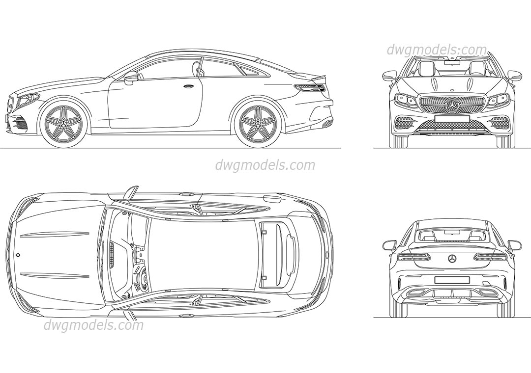 Mercedes-Benz E-Class Coupe AutoCAD drawings, download CAD