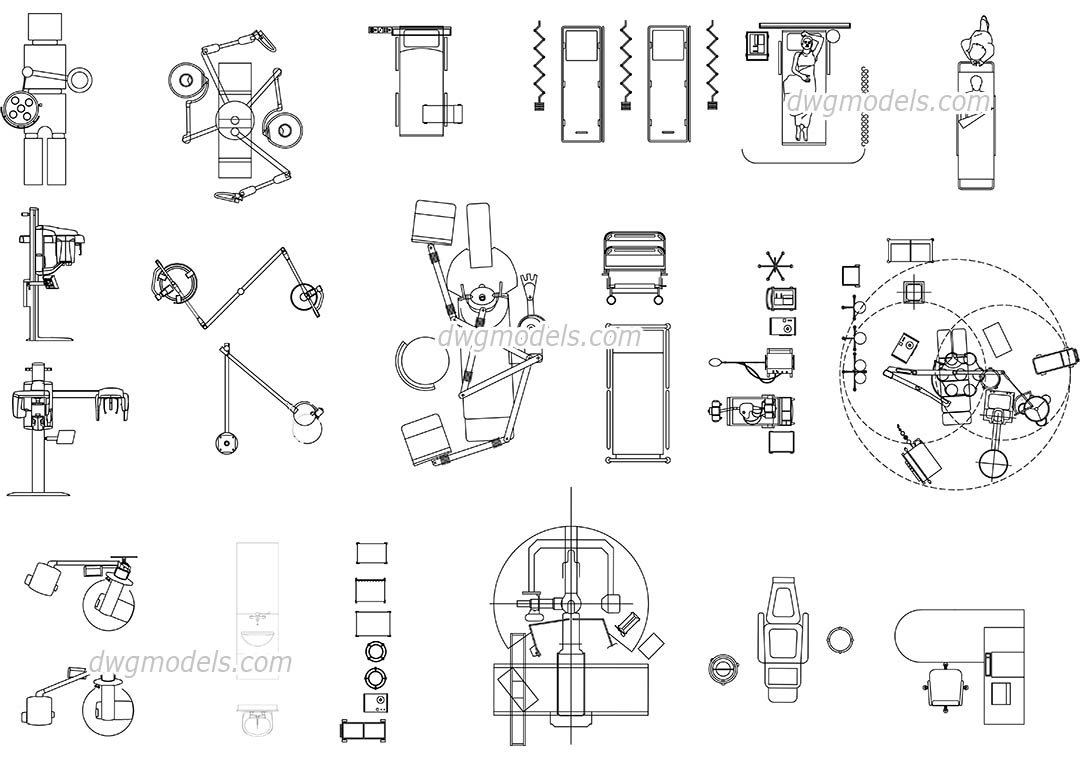 Medical Equipment View Top free CAD blocks download