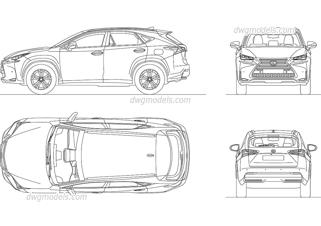 Lexus NX 300h AutoCAD drawings, CAD blocks download