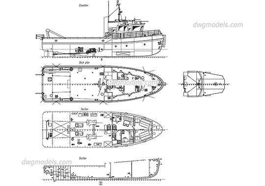 Ships, Boats dwg models, free download