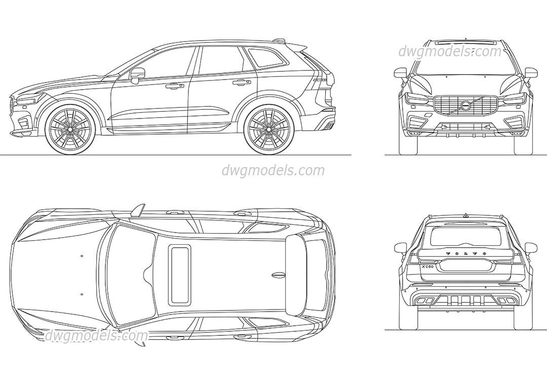 Volvo XC60 (2017) CAD block, AutoCAD drawing download