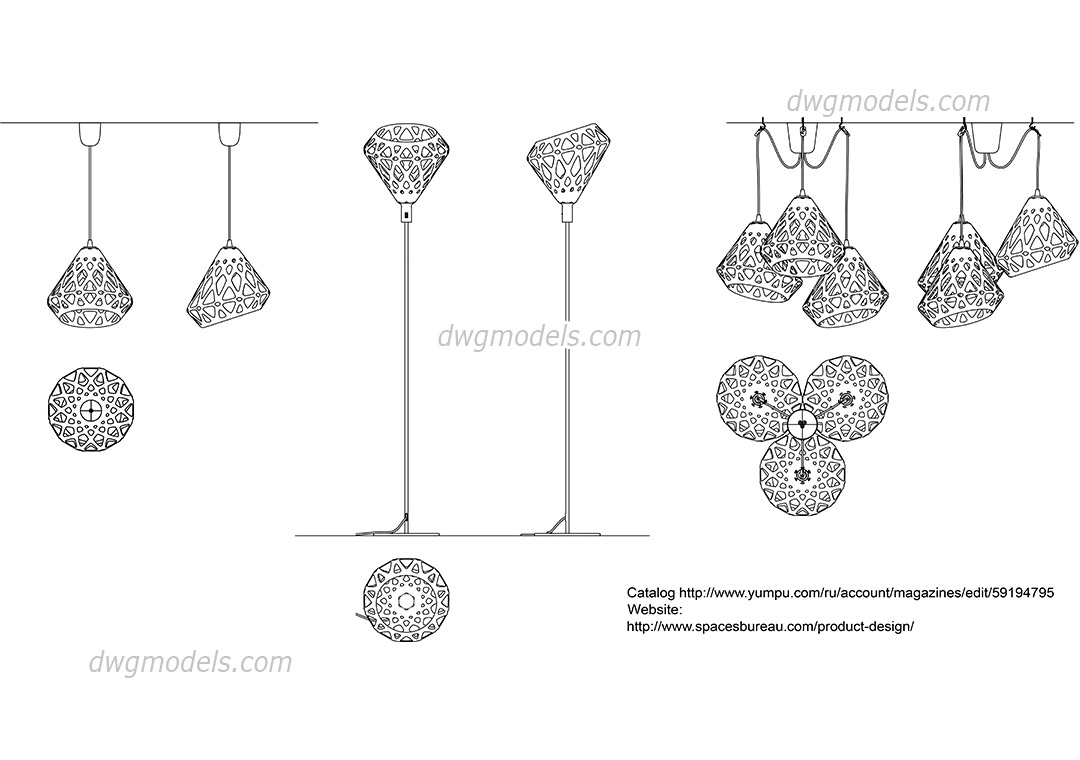 Zaha Lights CAD blocks free download, designer lamps in