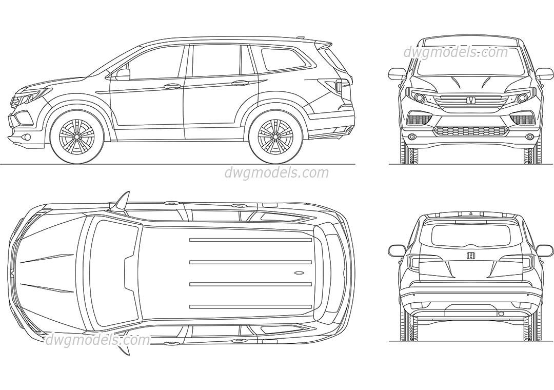 Honda Pilot (2017) drawings AutoCAD, CAD blocks download
