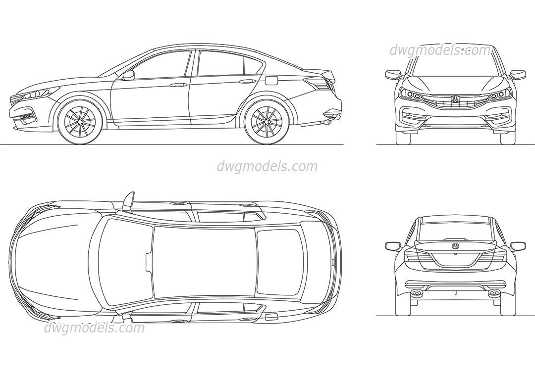 Honda Accord (2016) AutoCAD models, CAD blocks download
