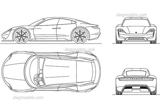 Tesla Model S DWG, free CAD Blocks download