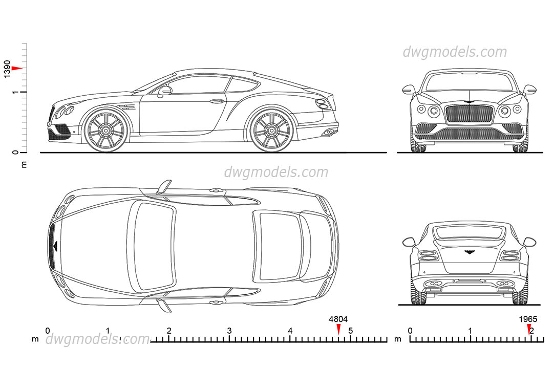 Bentley Continental GT dimensions, AutoCAD drawings