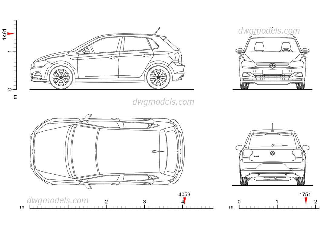 Volkswagen Polo (2017) drawings, dimensions, CAD block