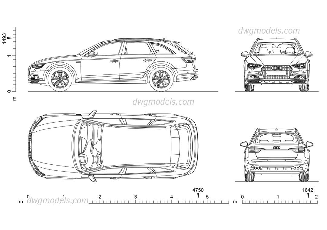 Audi A4 Allroad 2D CAD blocks, download AutoCAD file