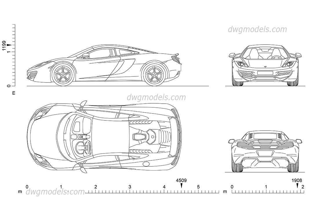 McLaren MP4 CAD blocks, car top view, side, rear, front