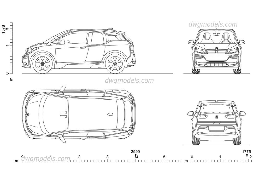 BMW i3 dimensions, 2D CAD drawings, AutoCAD model download