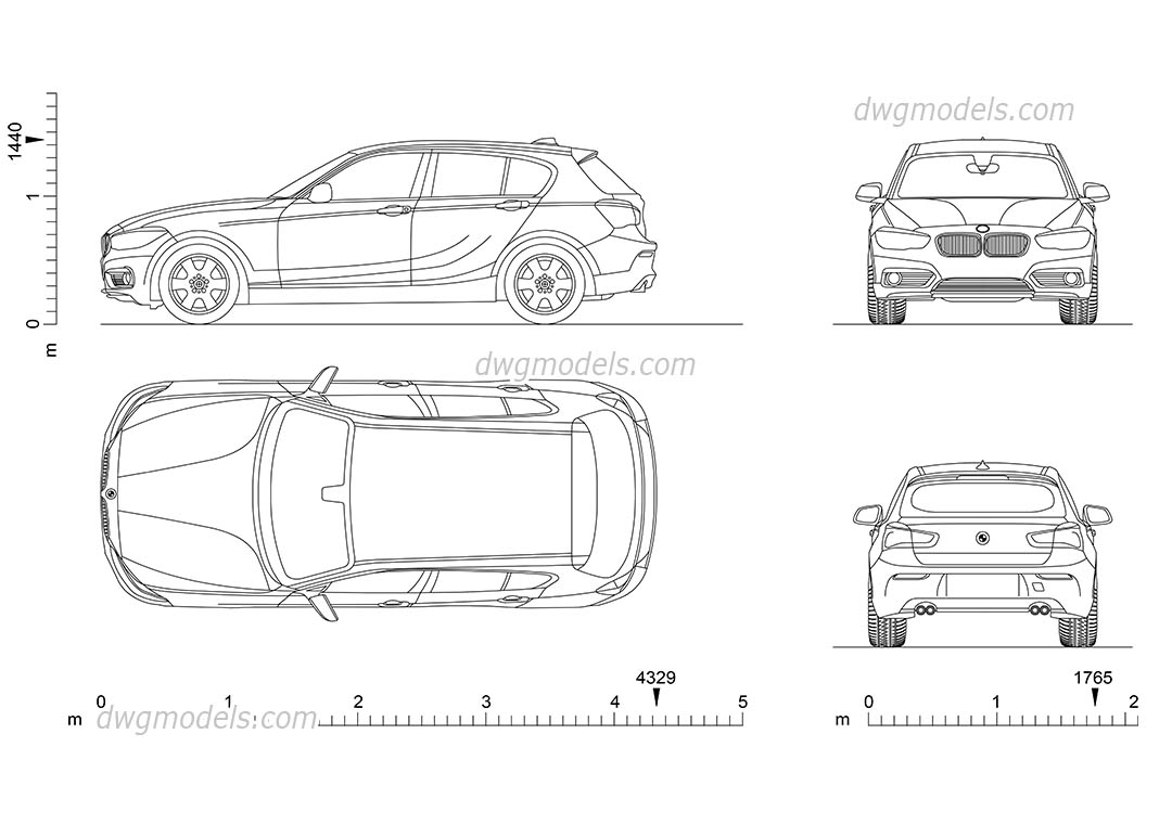 BMW 1 Series 2D DWG model download, AutoCAD file, dimensions