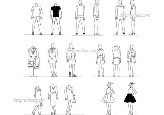 Mannequins CAD blocks, AutoCAD file download
