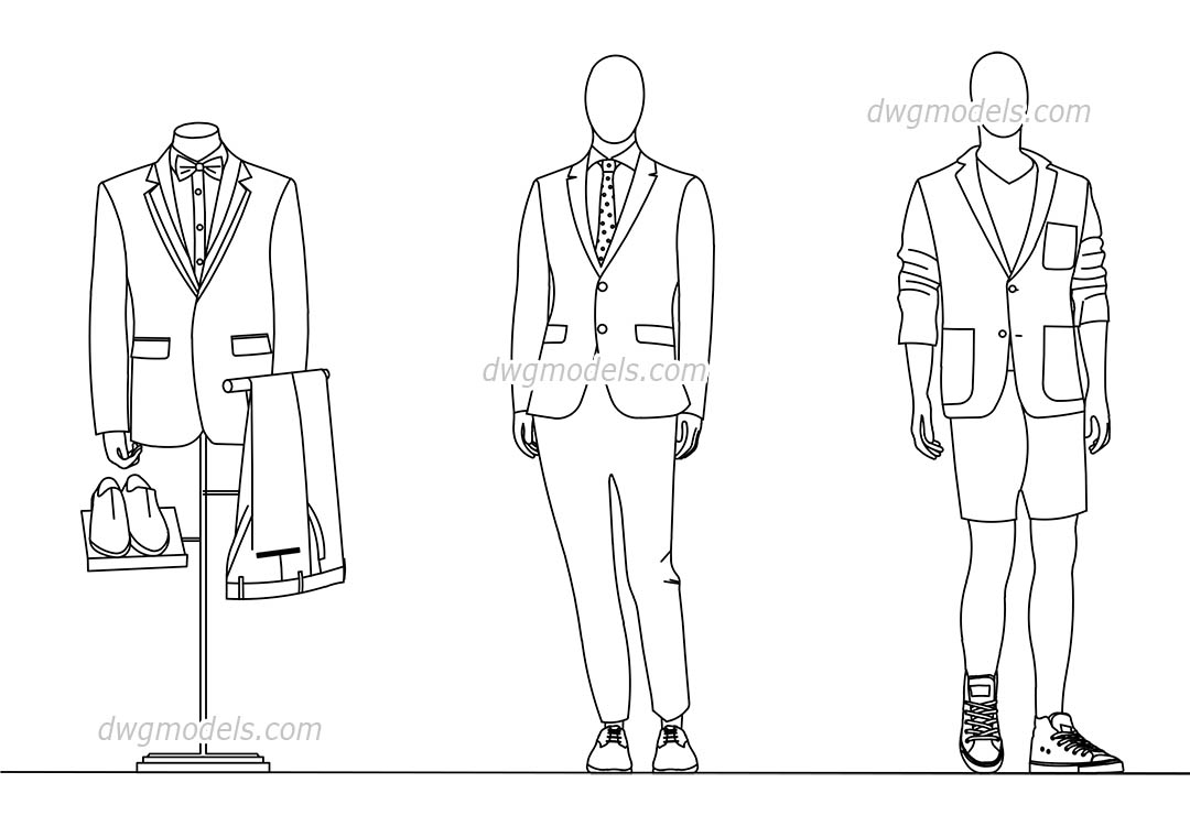 Mannequins Cad block, Clothing, download AutoCAD drawings