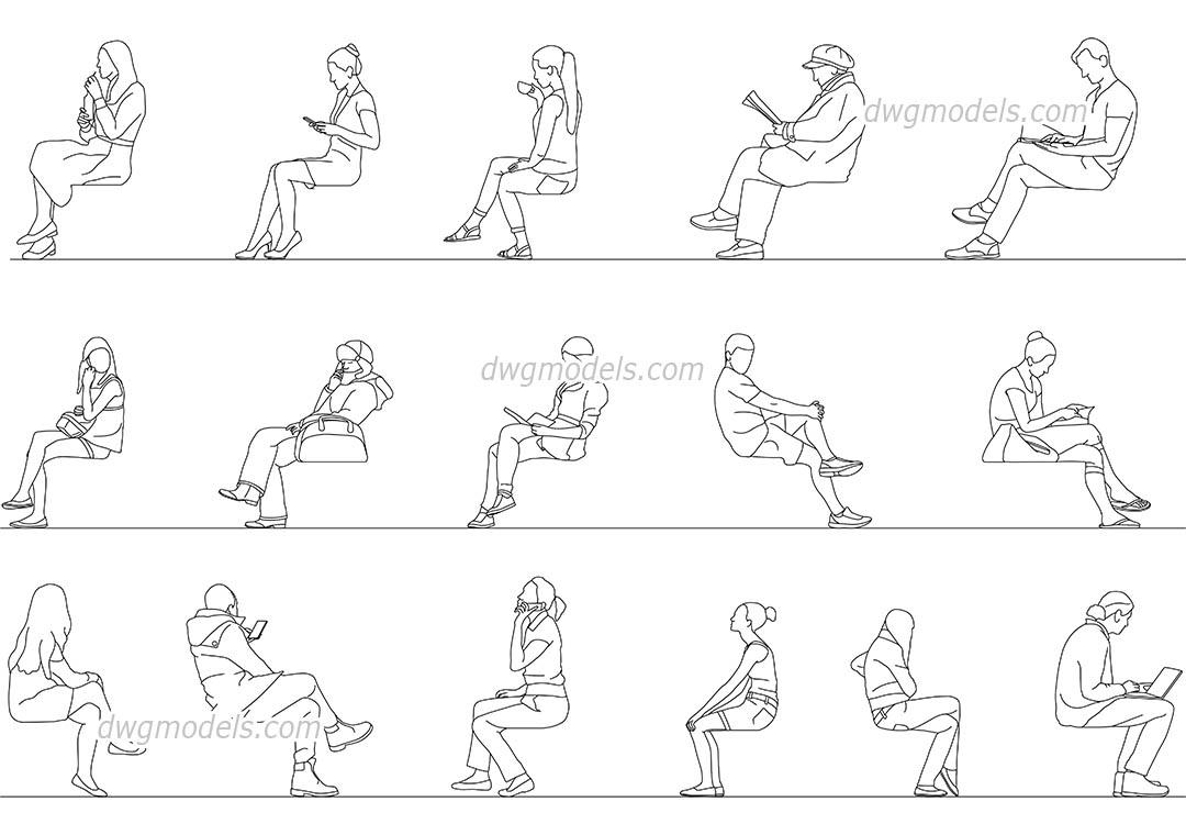 Men, Women Sitting download Cad blocks, AutoCAD file
