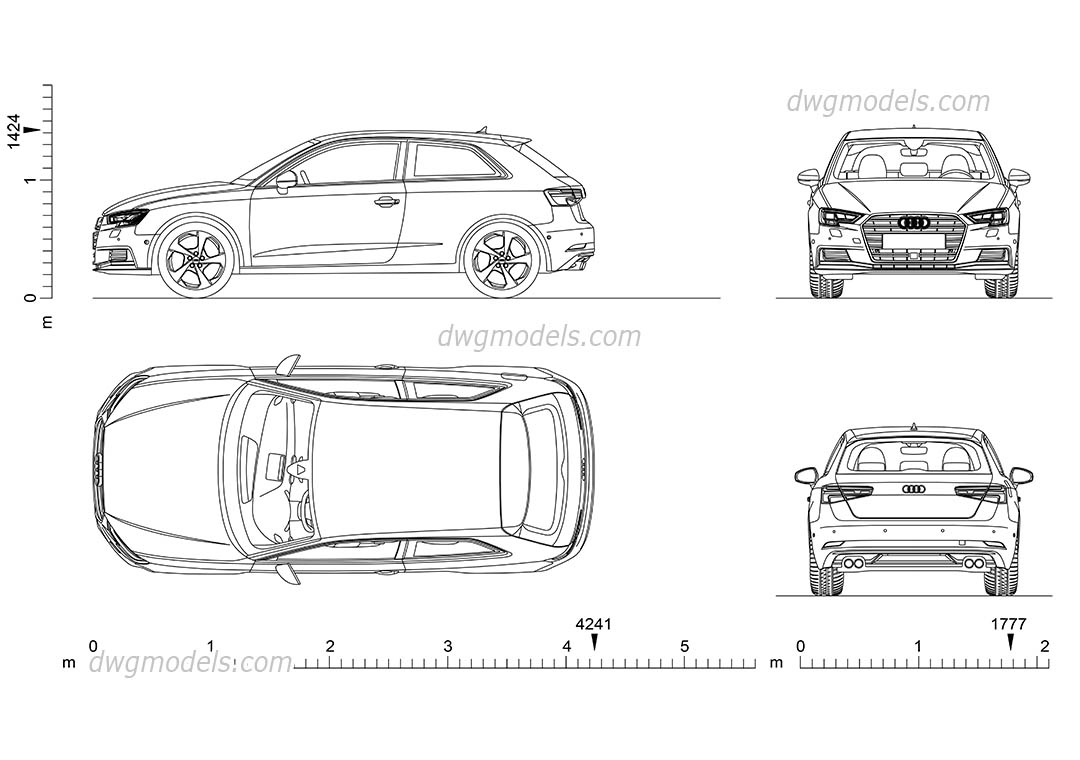 Audi A3 2016 Car AutoCAD drawings download, top view, back