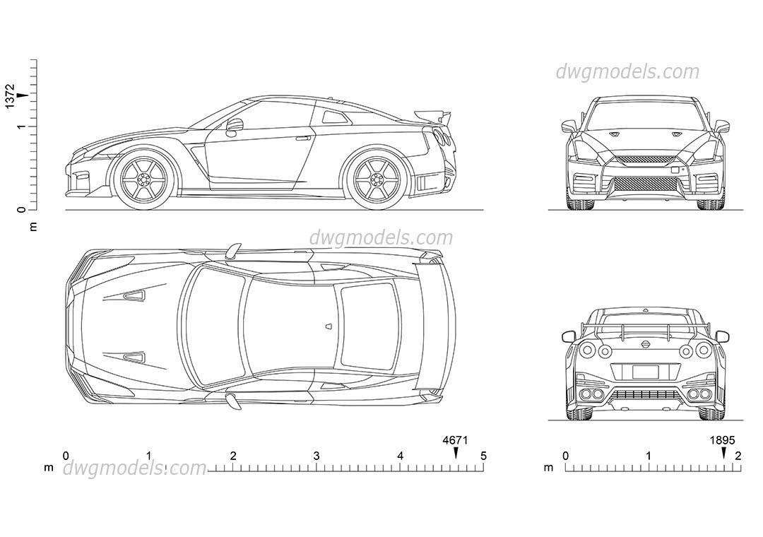 Nissan GT-R AutoCAD drawings, CAD blocks download