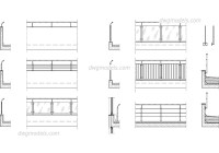 Railing CAD drawings, AutoCAD blocks download free