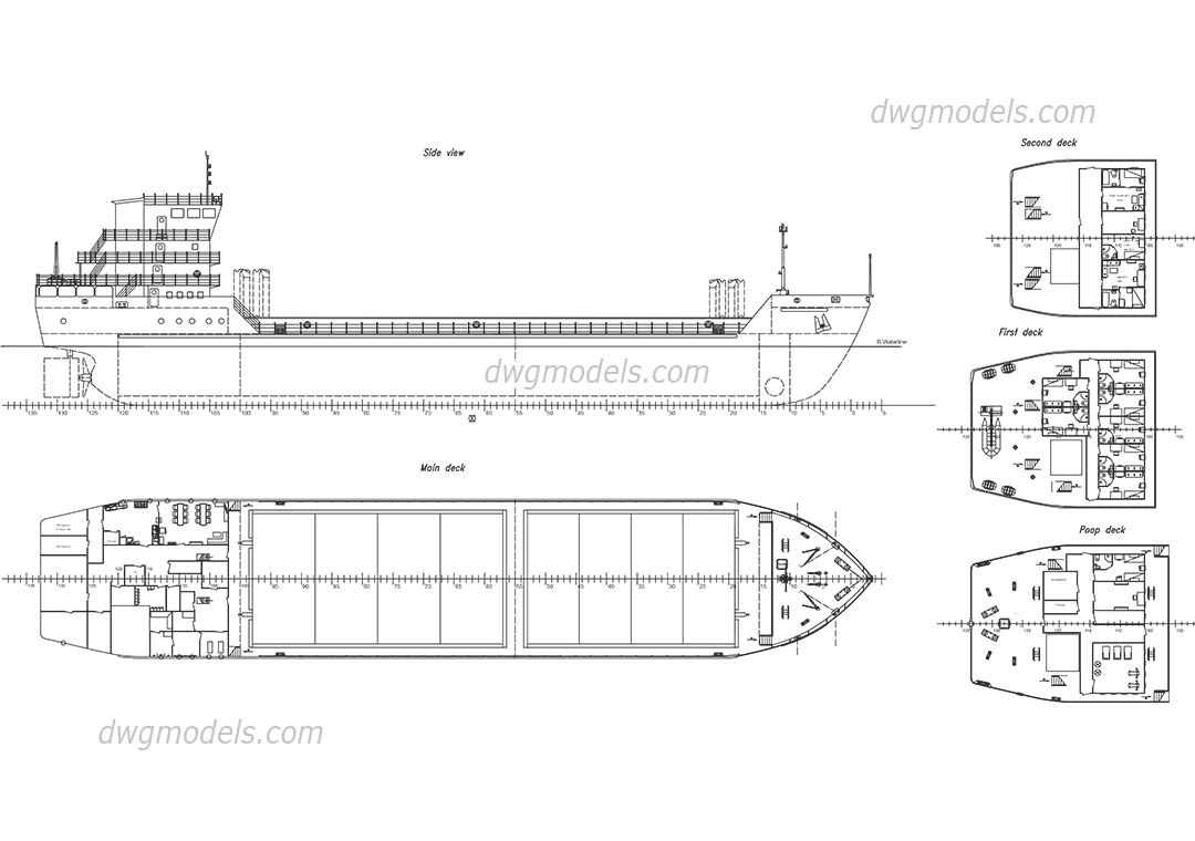 hight resolution of cargo ship free autocad drawings