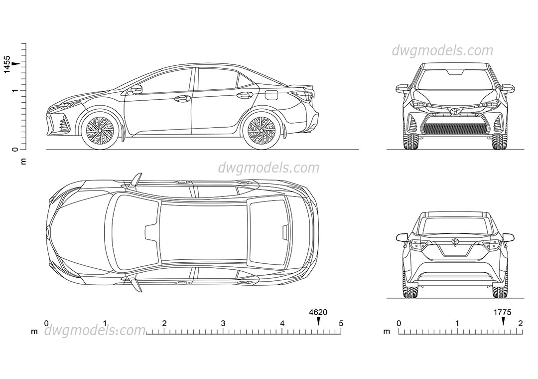 Toyota Corolla CAD drawings download, car top view, rear