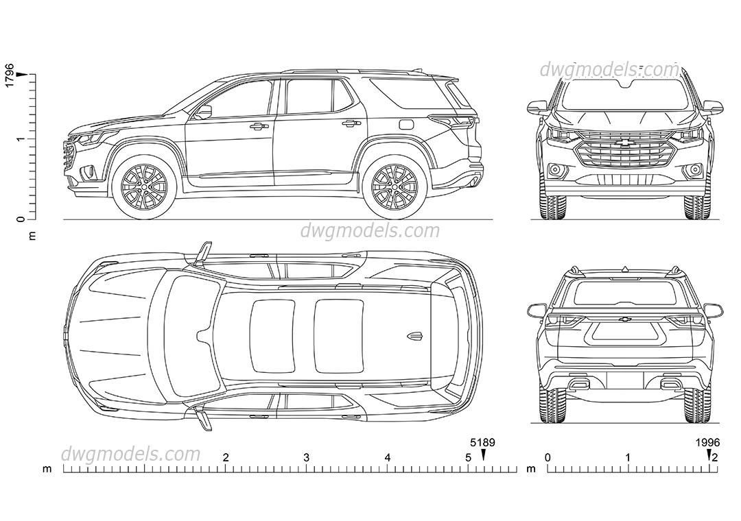 Chevrolet Traverse Cad blocks download, AutoCAD car