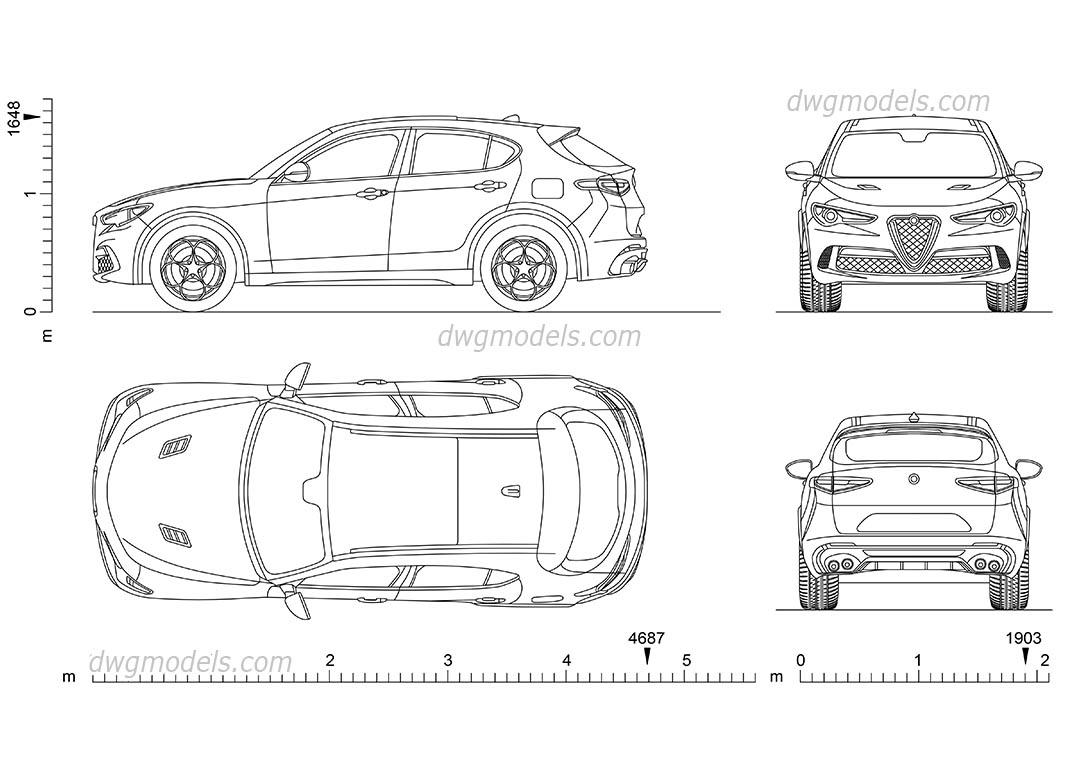 Alfa Romeo Stelvio DWG blocks download, 2D car model