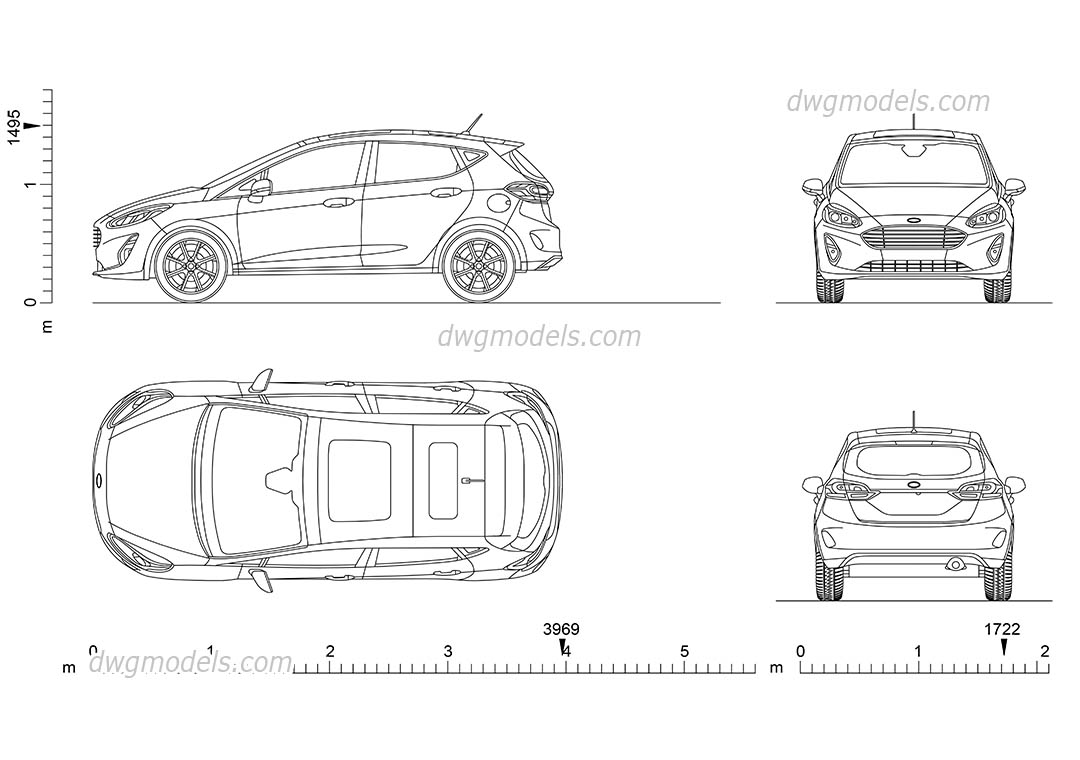 Download Car AutoCAD drawings of the Ford Fiesta in plan