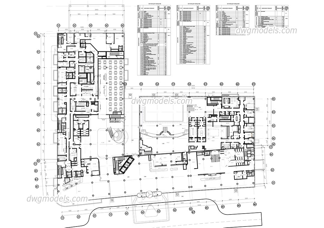 Hotel Ground Floor Plan, AutoCAD project free download