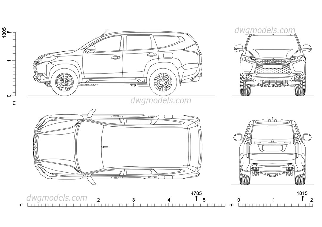 Mitsubishi Pajero Sport DWG blocks, download AutoCAD file
