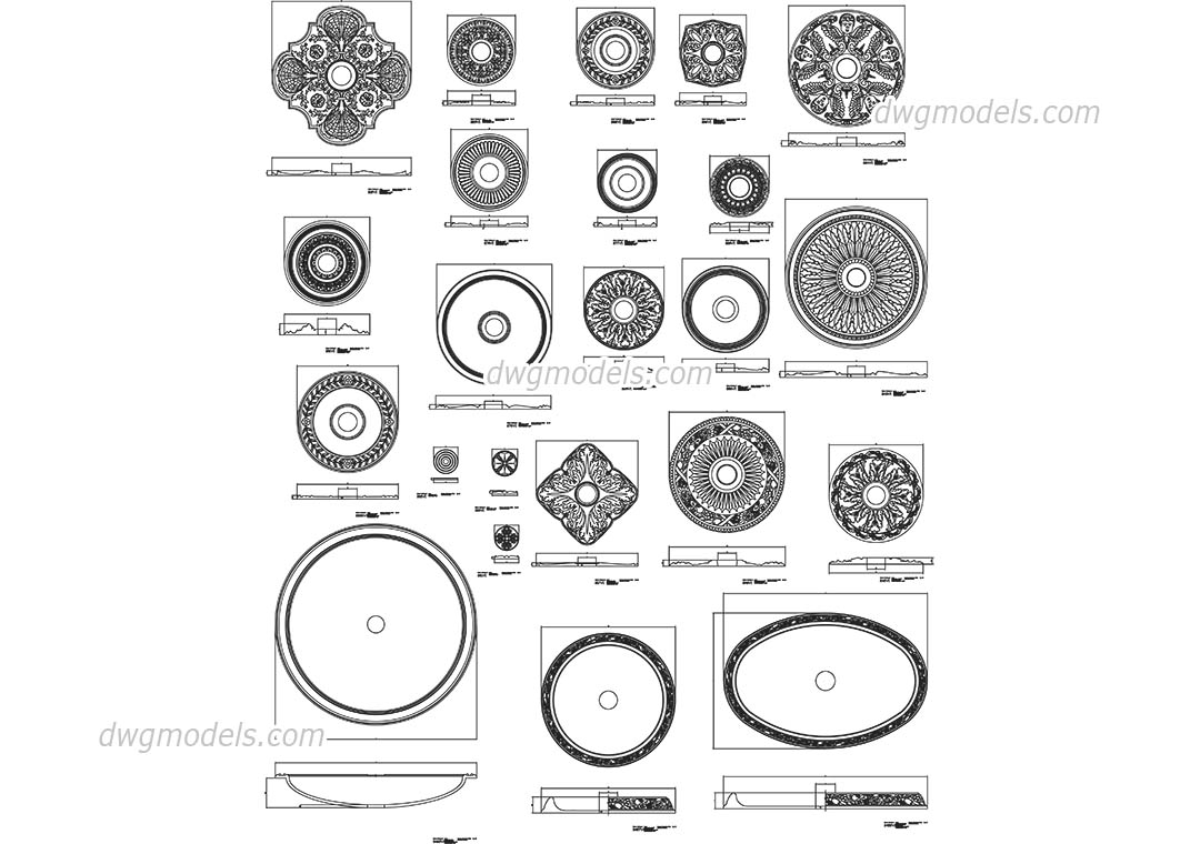 Architectural Rosettes CAD drawings, 2D AutoCAD models