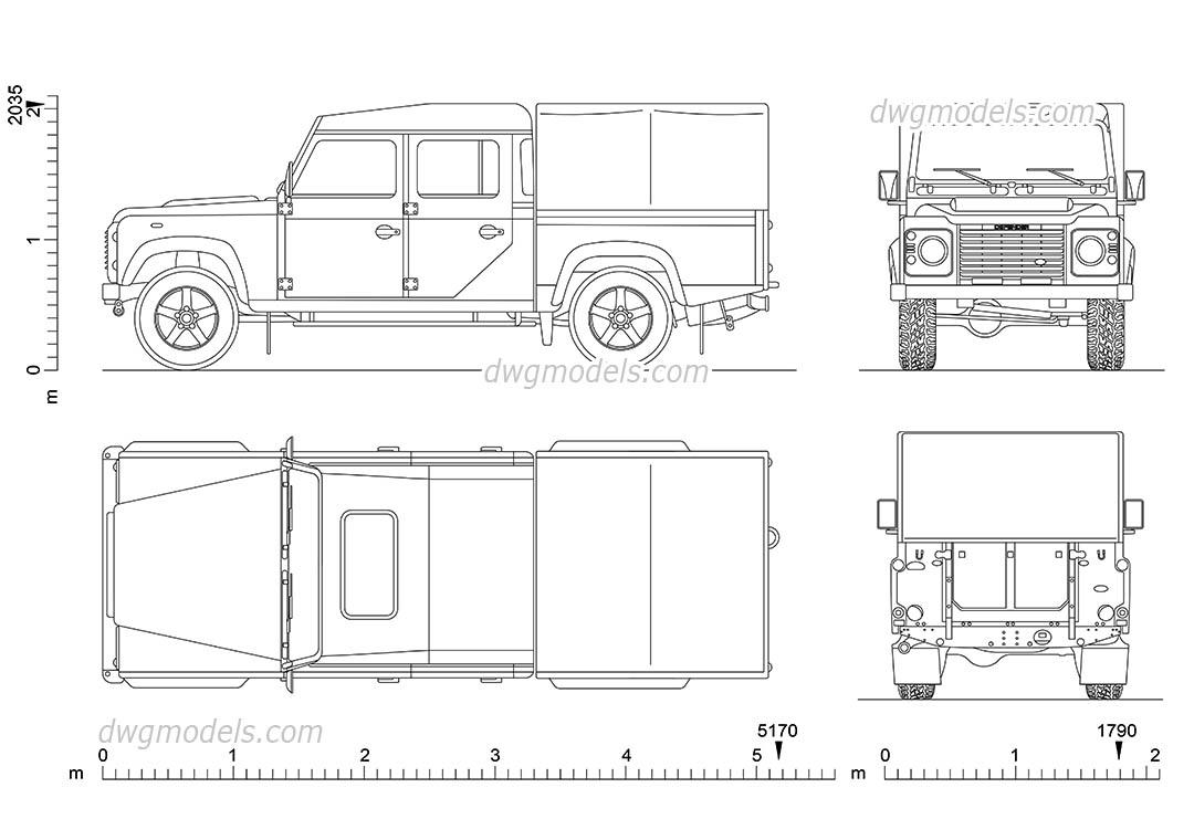 Land Rover Defender 130 car AutoCAD block, dimensions