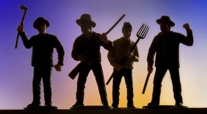 cg angry mob image of 4 people with an axe, rifle, pitchfork, and club