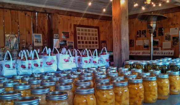 Organic apples and preserves in the farm-stand