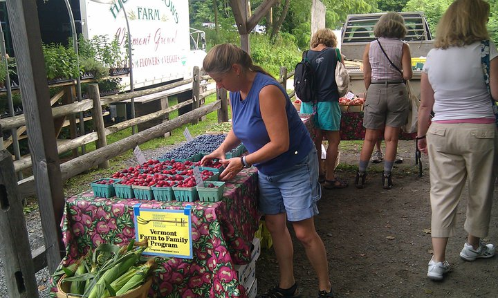 Farmers market, Dwight Miller Orchards, organic blueberries and cherry plums