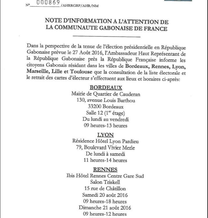 GABON PRESIDENTIELLE 2016 : NOTE D'INFORMATION A L'ATTENTION DE LA COMMUNAUTE GABONAISE DE FRANCE