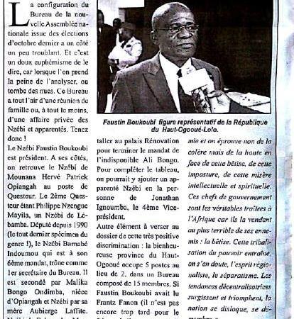 "nzebi - ""Gabon d'abord ou plutôt : Mon clan, mon ethnie d'abord"""