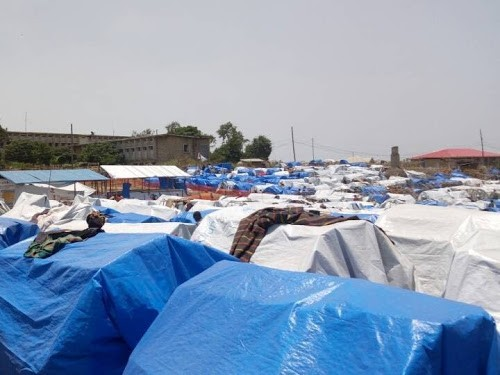 Camp de déplacés de Djugu installé à l'hôpital général de Bunia dans la province de l'Ituri en mars 2018. Radio Okapi/Ph. Jose Deschartes Menga