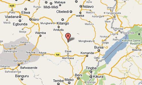 Carte du district de l'Ituri en Province Orientale.