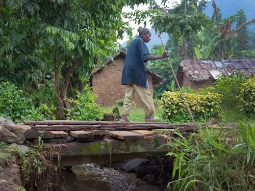 Un vieil homme traversant un pont rustique pour se rendre au centre de Pinga. Photo Monusco/Sylvain Liechti