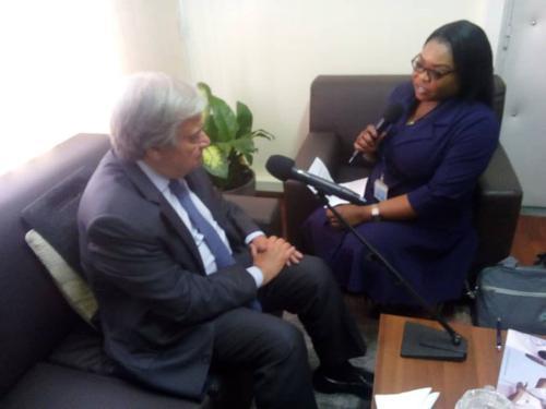 Le secrétaire général de l'ONU Antonio Guterres a accordé une interview exclusive à Radio Okapi le 2/9/2019. Photo MONUSCO.