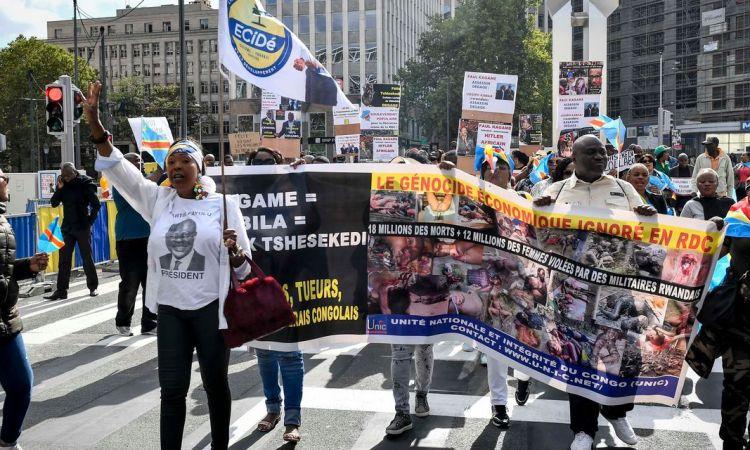 Des manifestants hostiles à M. Tshisekedi se font entendre à Bruxelles