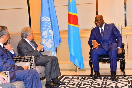 Le Secrétaire général de l'ONU, Antonio Guterres s'entretient avec le Président de la RDC, Félix Antoine Tshisekedi en présence du Directeur général de l'OMS, Tedros Adhanom Gebreyesus à Kinshasa, le 2 septembre 2019. Radio Okapi/Ph. John Bompengo