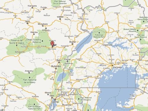 Le point A en rouge, le territoire de Mambasa, dans la Province-Orientale (RDC)