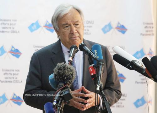 Le Secrétaire général de l'ONU, Antonio Guterres, lors d'une conférence de presse, le 02/09/2019 à Kinshasa. Radio Okapi/Photo John Bompengo