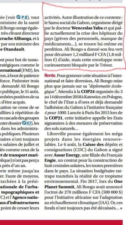 25 JUILLET 2020 argent du contribuable pas de samu social gabonais - Chronique du Gabon   SAMU Social Gabonais : et si on parlait gros sous ?