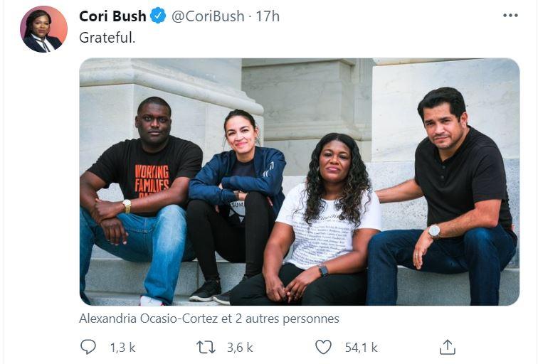 """""""Reconnaissante"""", tweet de Mme Cori Bush, Membre du Congrès américain, Représentante du Missouri."""