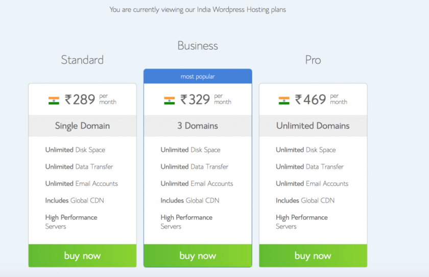 BlueHost India WordPress Optimized Linux Hosting Plans
