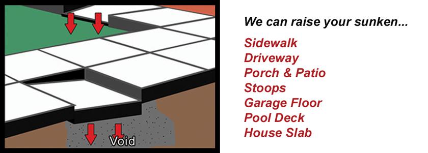 Dwyer Company can raise your sunken sidewalk, patio, garage floor, house slab or even driveway.