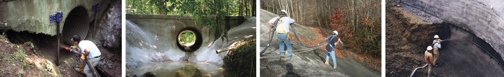 Shotcrete applied to bridges, overpasses, and reinforcing walls.