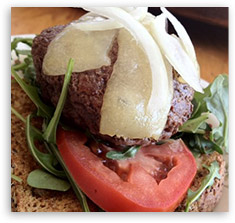 Buffalo Burger with Arugual and Manchego
